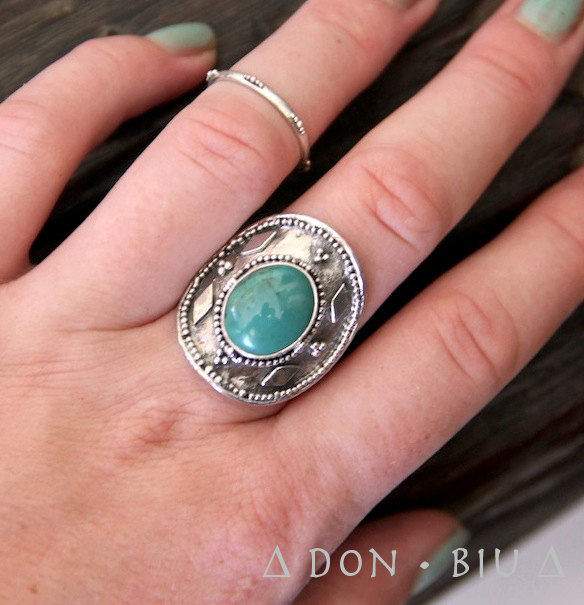 Natural Turquoise Sterling Silver Ring, Statement Ring, Adjustable Ring,Cocktail Ring, Free Engraving, Gypsy Style, Bohemian Ring